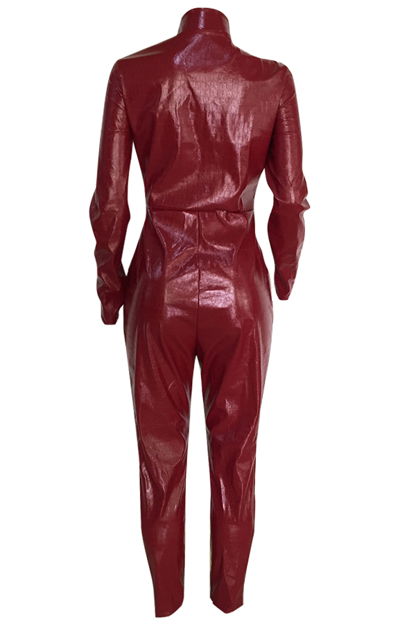 Lovely Trendy Skinny Red One-piece Jumpsuit(Without Belt)