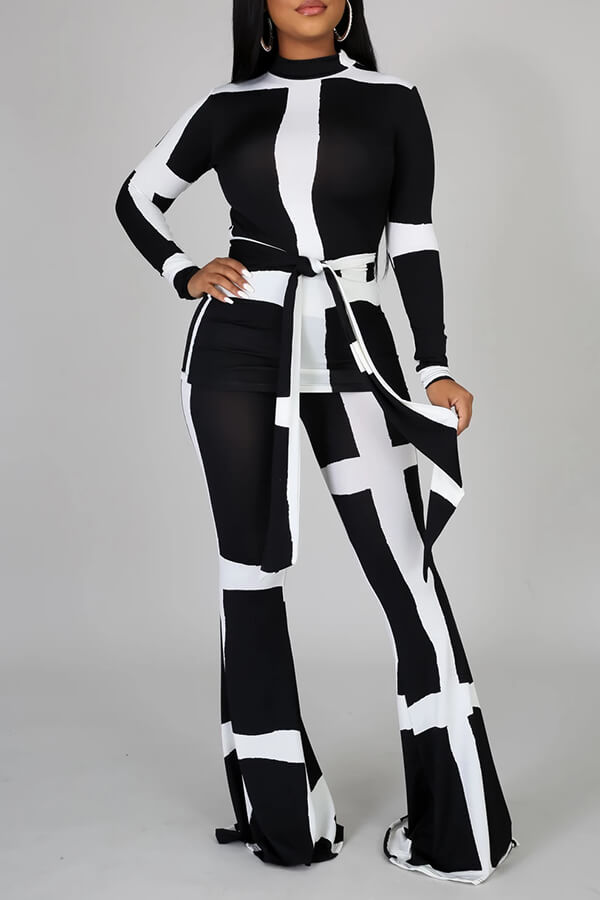 Lovely Casual Patchwork Black Two-piece Pants Set