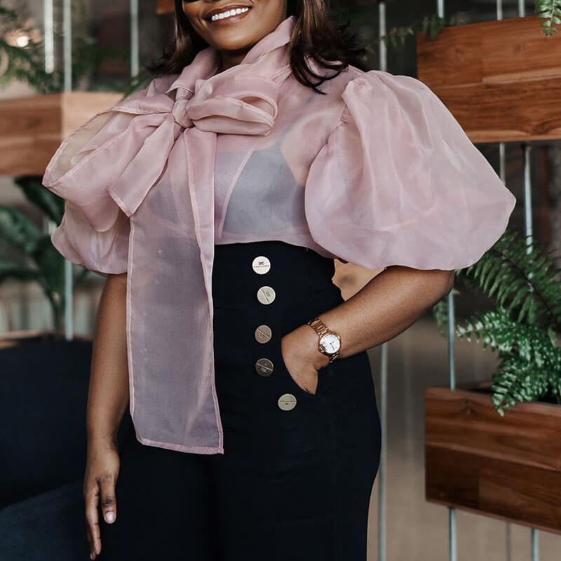 Lovely Trendy Bow-Tie Pink Plus Size Blouse
