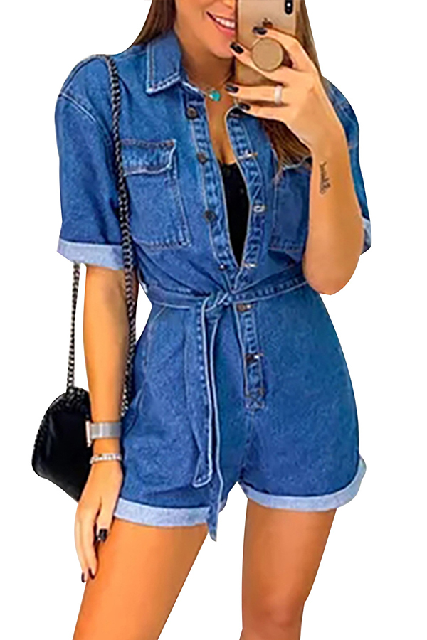 Lovely Casual Buttons Design Baby Blue One-piece Romper