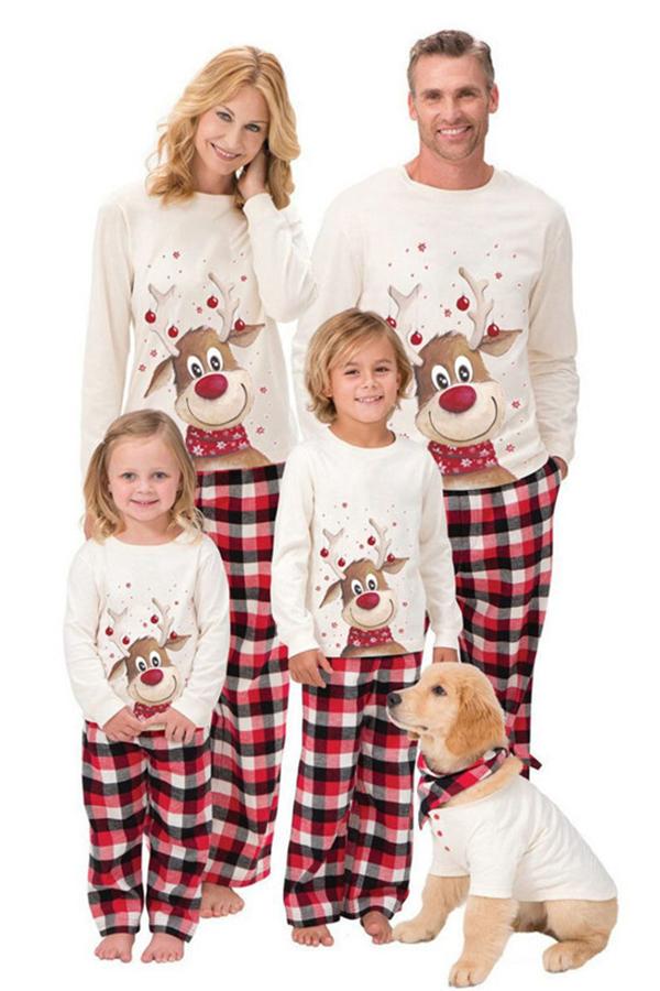 Lovely Family Santa Claus Creamy White Father Two-piece Pants Set