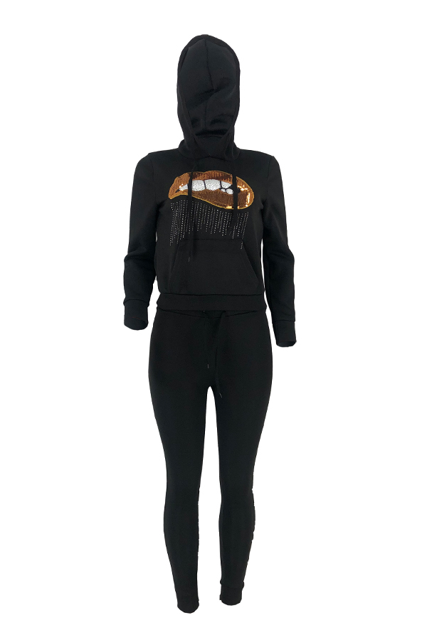 Lovely Leisure Hooded Collar Lip Black Two-piece Pants Set