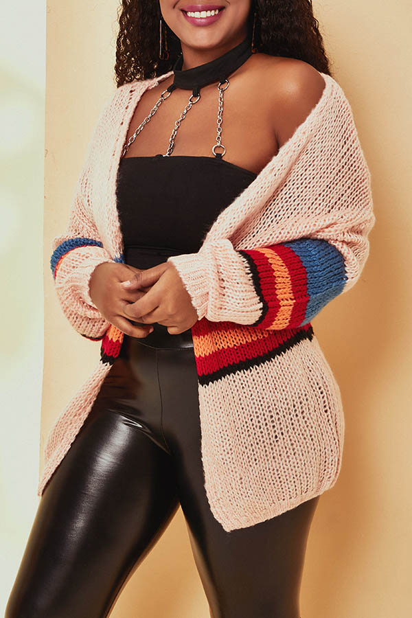 Lovely Casual Striped Light Pink Cardigan