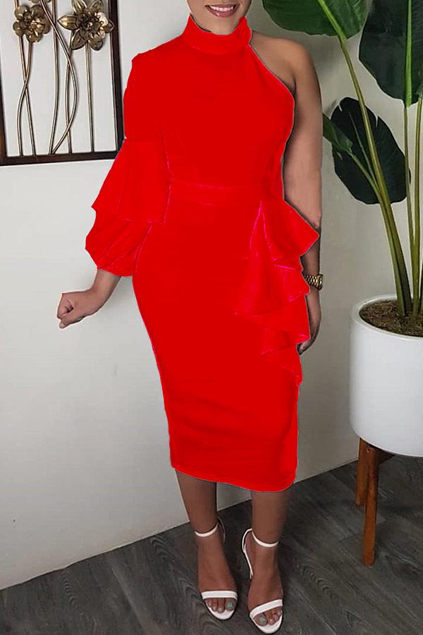 Lovely Sweet Turtleneck Dew Shoulder Flounce Red Mid Calf Dress