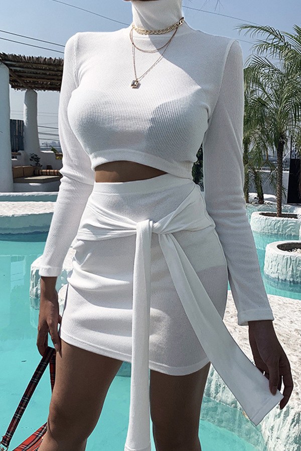 Lovely Casual Turtleneck Lace-up White Two-piece Skirt Set