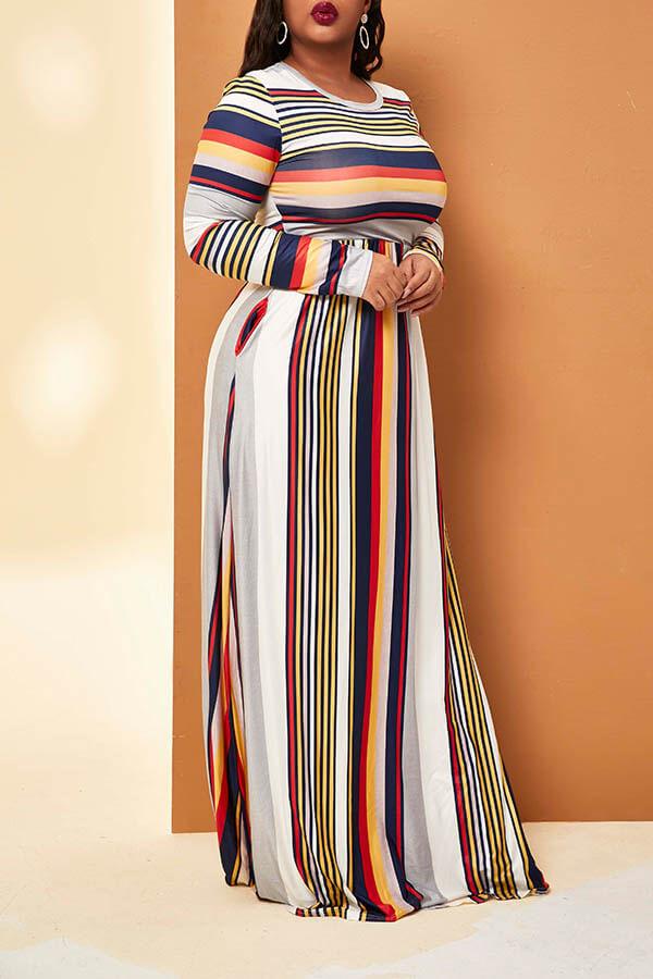 Lovely Trendy Striped Yellow Floor Length Plus Size Dress