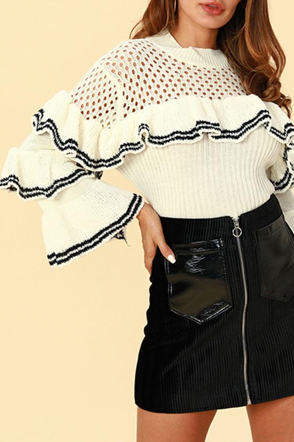 Lovely Euramerican Flounce Design White Sweaters