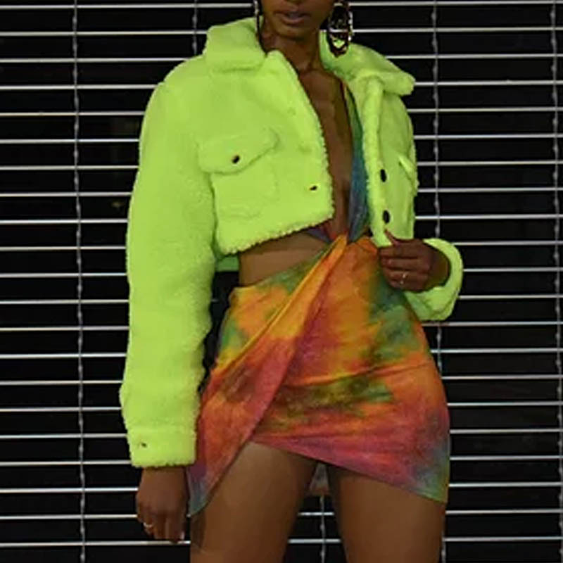 Lovely Trendy Crop Top Green Coat