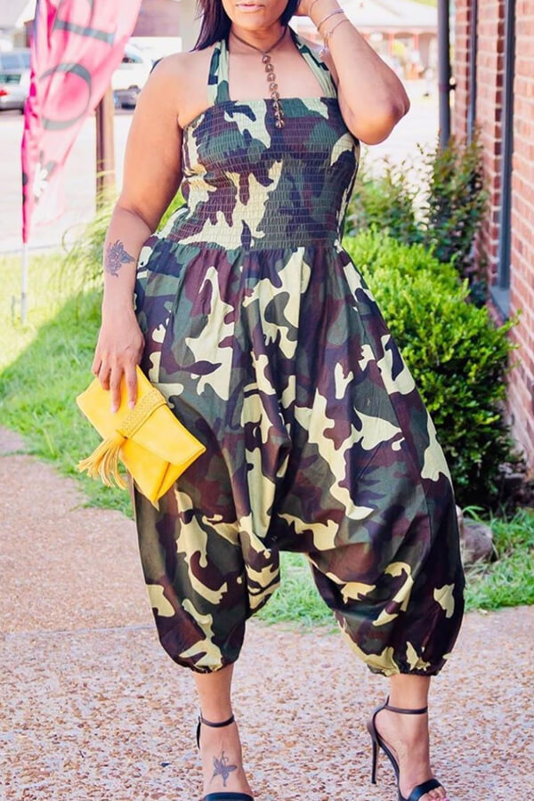 Lovely Casual Camouflage Printed Army Green Plus Size One-piece Jumpsuit