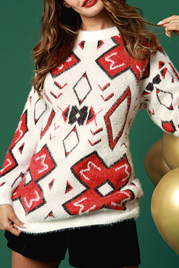 Lovely Sweet Long Sleeves Printed White Mohair Sweaters