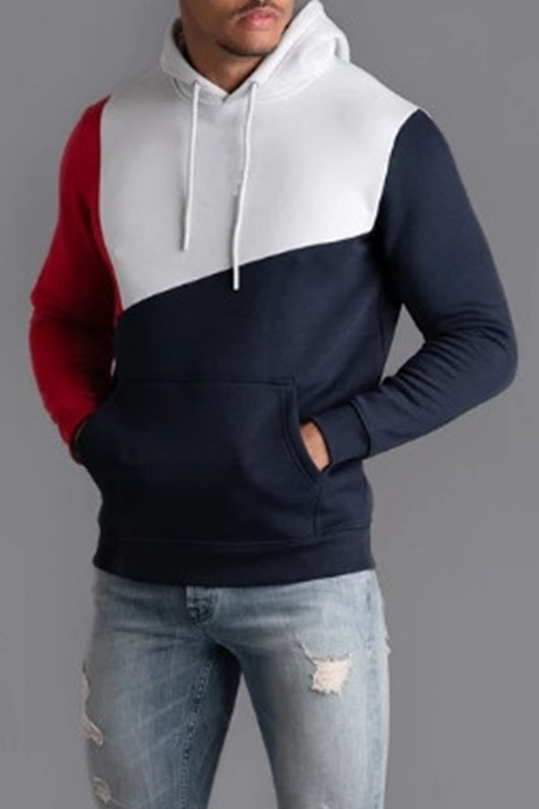 Lovely Casual Hooded Collar Patchwork Red Hoodie
