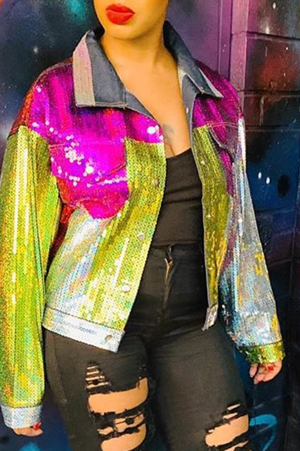 Lovely Leisure Patchwork Multicolor Coat