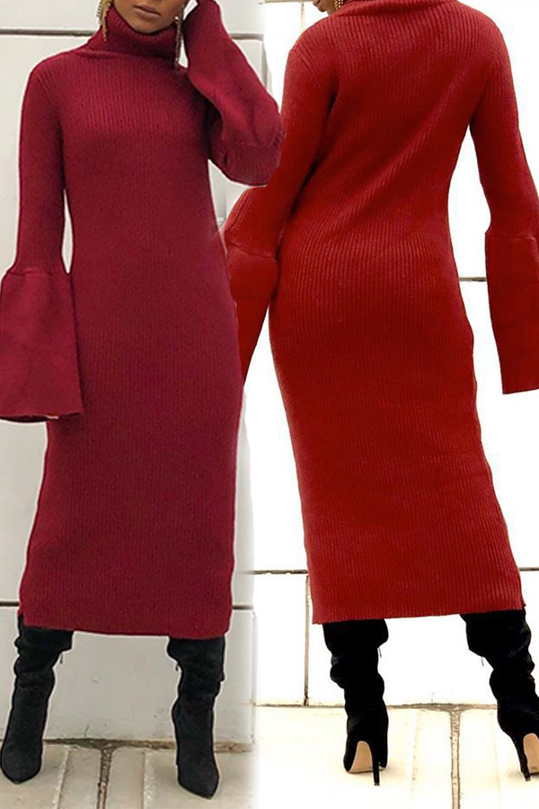 Lovely Leisure Turtleneck Wine Red Mid Calf Dress