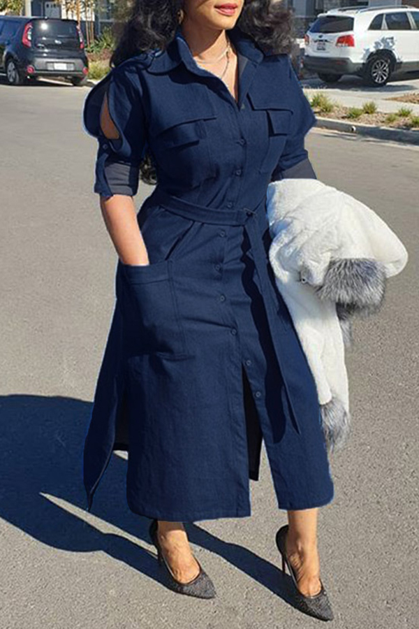 Lovely Casual Turndown Collar Buttons Design Blue Ankle Length Dress