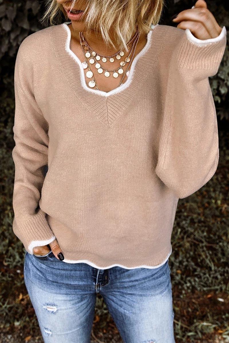Lovely Flounce Design Khaki Sweater