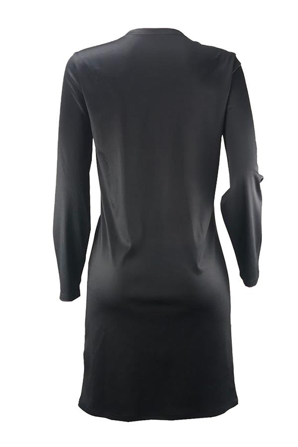 Lovely Casual Printed Black Knee Length Dress