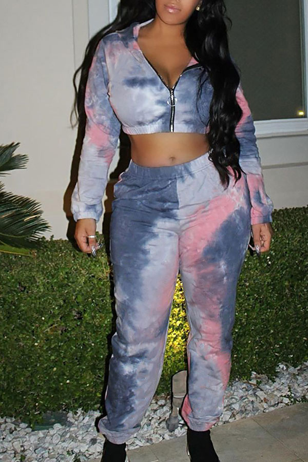 Lovely Casual Crop Top Multicolor Two-piece Pants Set