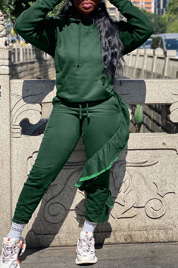 Lovely Street Flounce Design Green Two-piece Pants Set