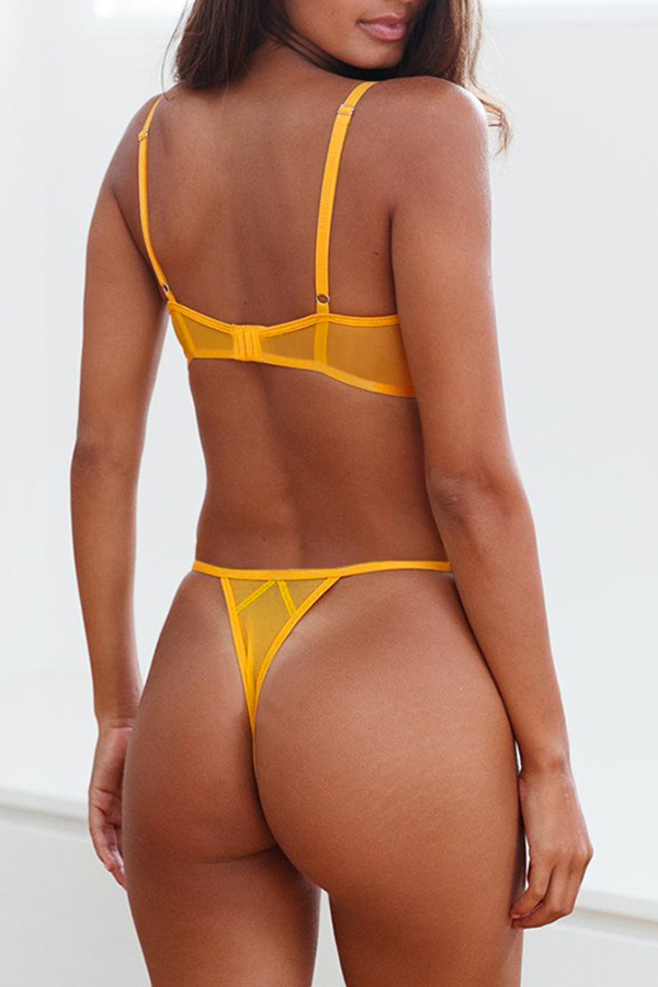 Lovely Sexy See-through Yellow Bra Sets