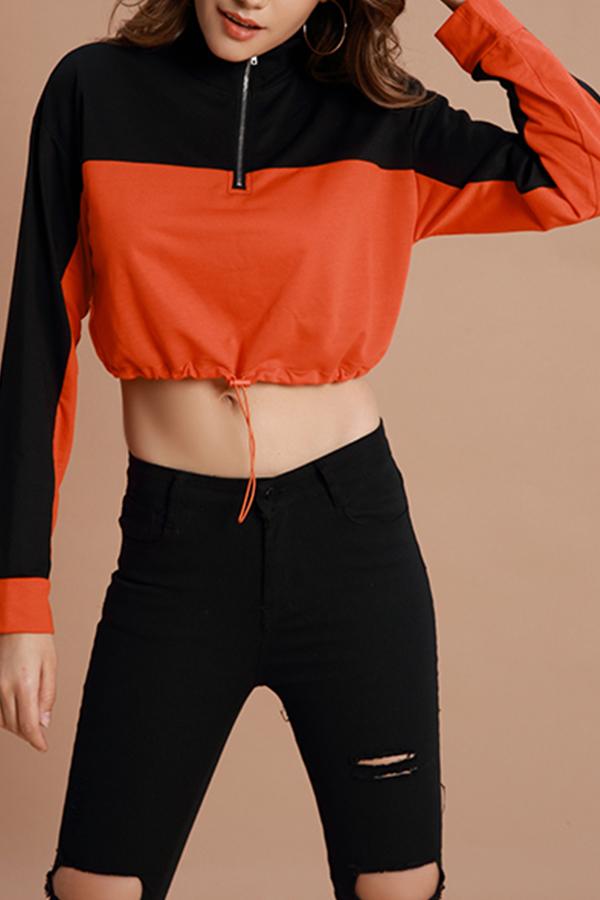 Lovely Sportswear Patchwork Jacinth Cotton Hoodies