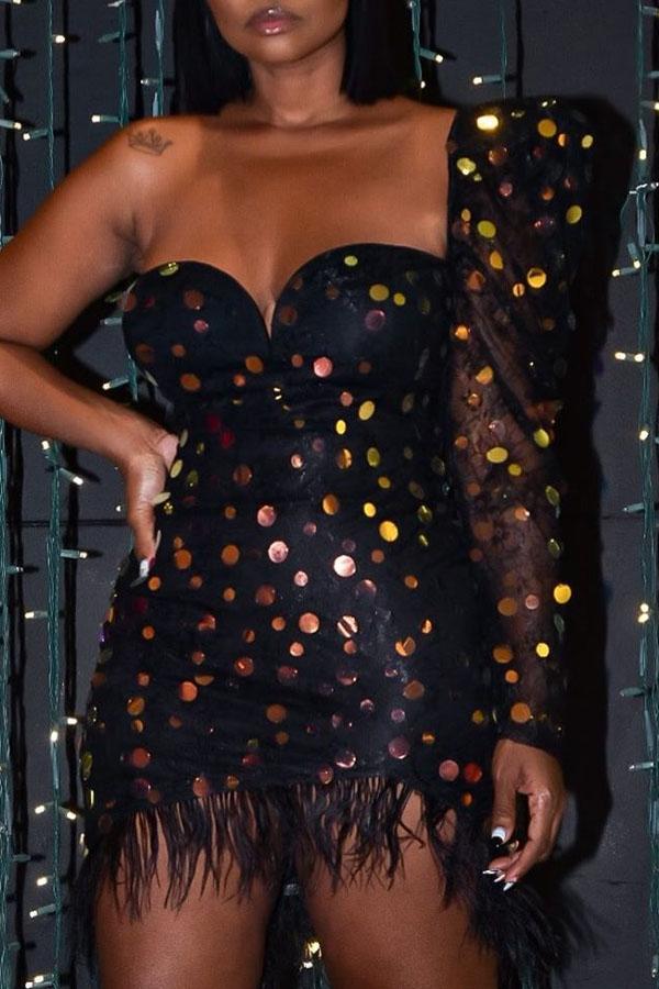 Lovely Casual Tassel Design Black Mini Dress