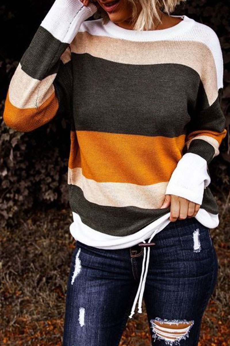Lovely Striped Patchwork Black Sweater