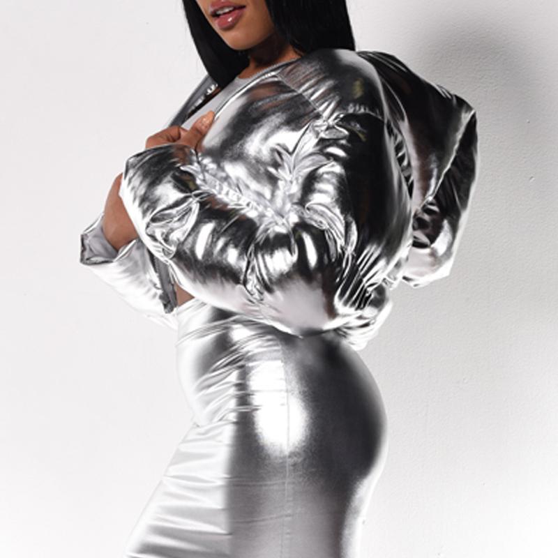 Lovely Trendy Short Silver Winter Coat