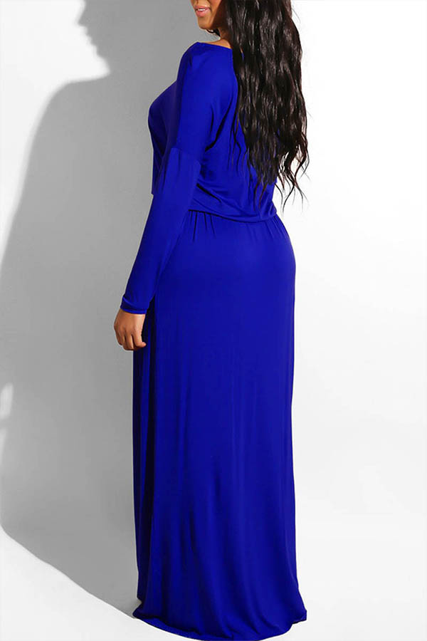 Lovely Casual Loose Blue Ankle Length Dress