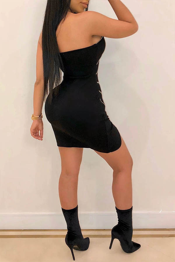 Lovely Party Sleeveless Zipper Design Black Mini Dress