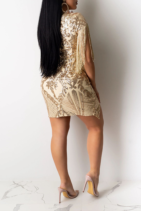 Lovely Party O Neck Tassel Design Apricot Mini Evening Dress
