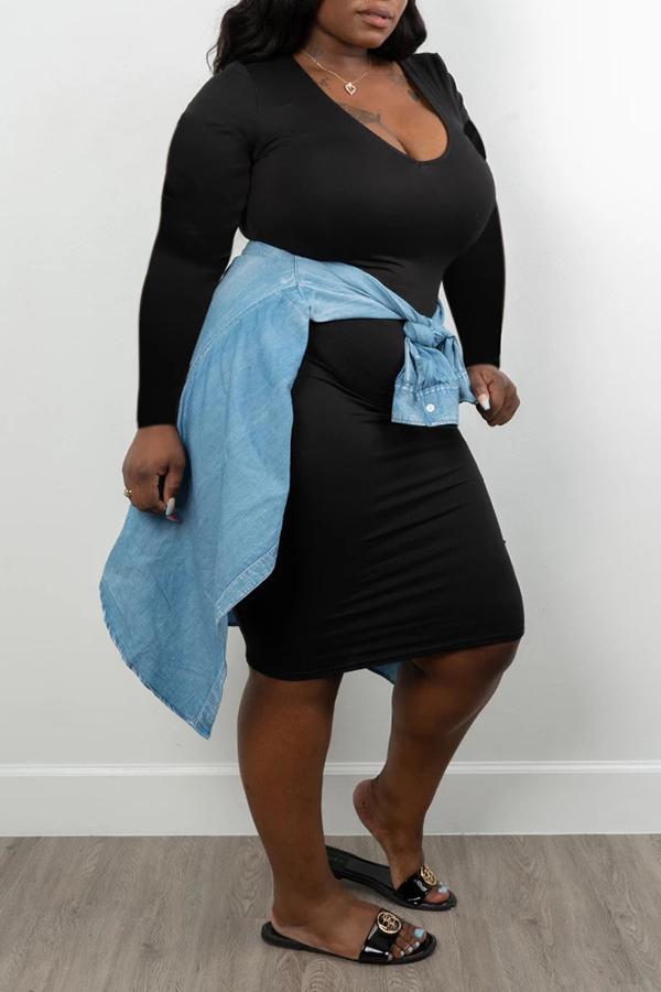 Lovely Casual U Neck Skinny Black Knee Length Plus Size Dress