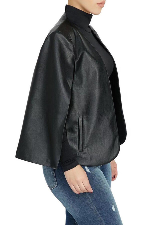 Lovely Leisure Cloak Design Black Coat