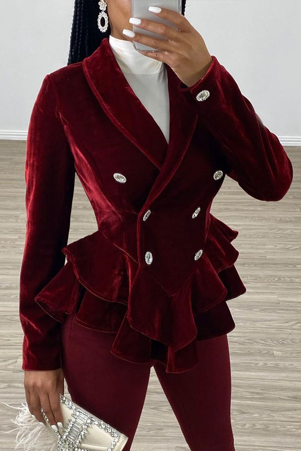 Lovely Casual Flounce Design Wine Red Coat