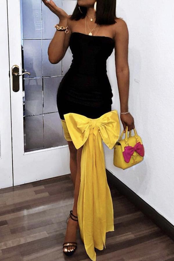 lovelywholesale / Cheap Prom Dress Lovely Sweet Patchwork Black Knee Length Prom Dress