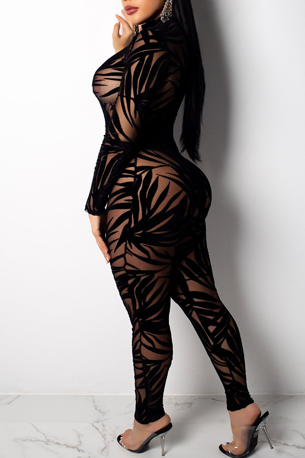 Lovely Sexy See-through Black One-piece Jumpsuit