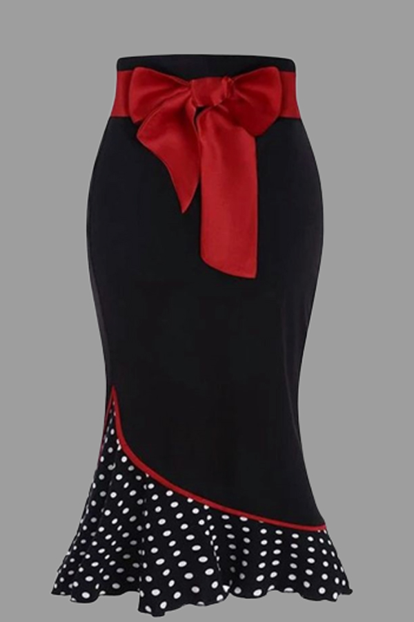 Lovely Casual Dot Red Plus Size Skirt
