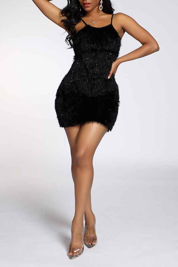 Lovely Party Spaghetti Straps Black Mini Prom Dress