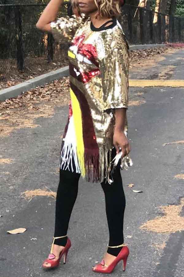 Lovely Casual O Neck Tassel Design Gold Knee Length Dress