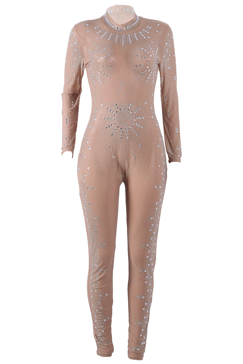 Lovely Sexy Hot Drilling Decorative Khaki One-piece Jumpsuit