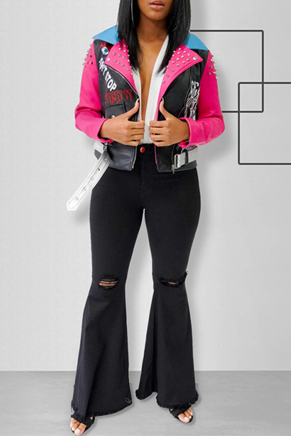Lovely Chic Patchwork Black PU Jacket