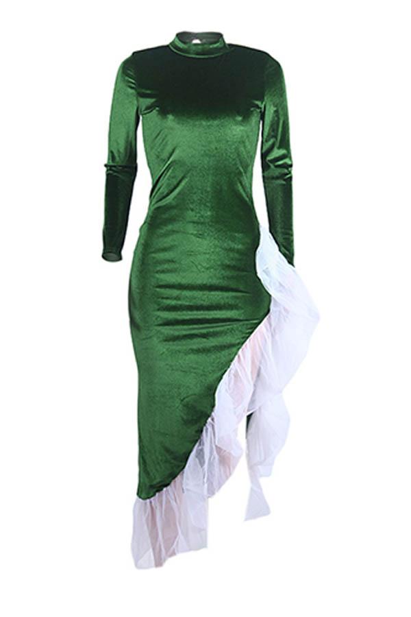 Lovely Sweet Asymmetrical Patchwork Green Ankle Length Dress