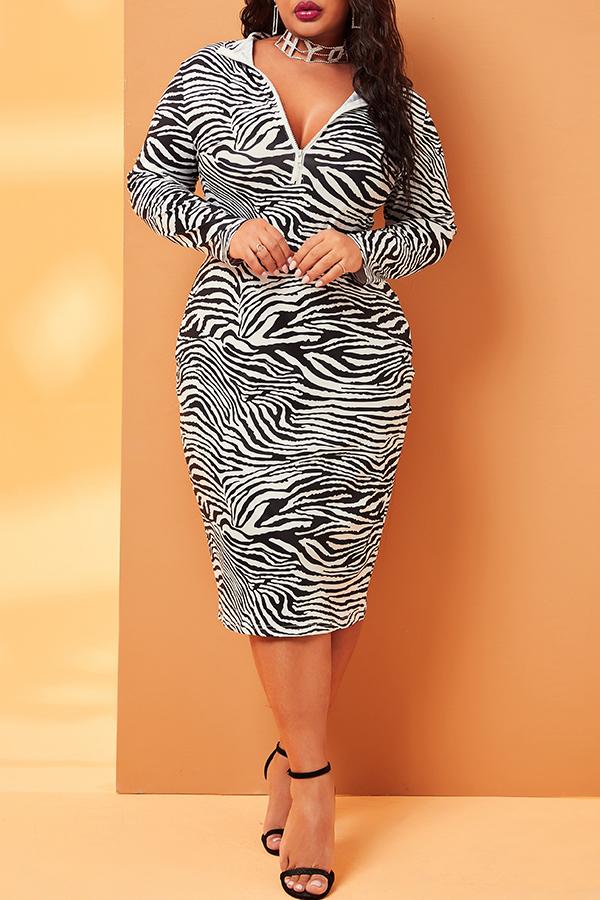 Lovely Trendy Print Black Mid Calf Plus Size Dress