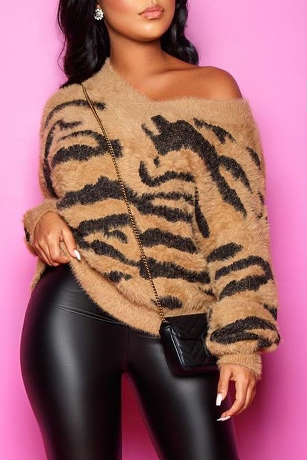 Lovely Casual V Neck Striped Brown Sweater
