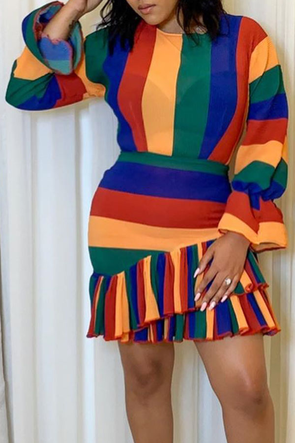 Lovely Sweet Patchwork Multicolor Mini Dress