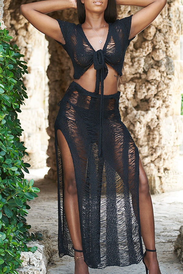 Lovely Knot Design Hollow-out Black Beach Skirt Set
