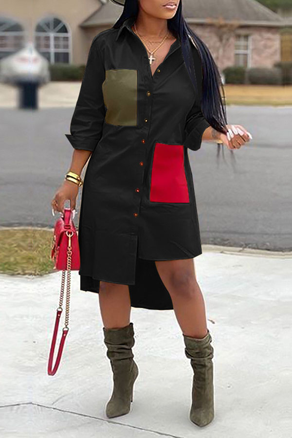 Lovely Casual Color-lump Patchwork Black Mid Calf Dress