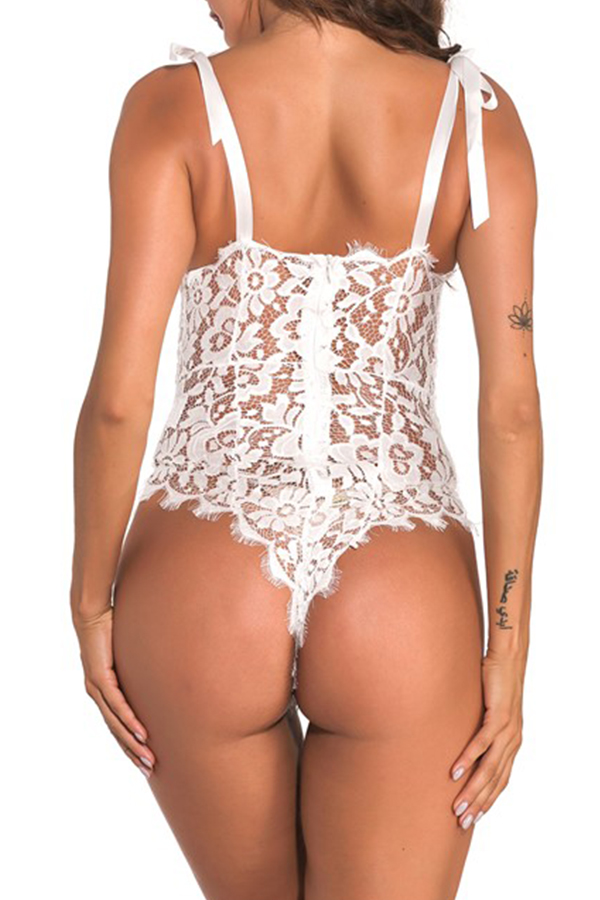 Lovely Sexy Lace Hollow-out White Teddies