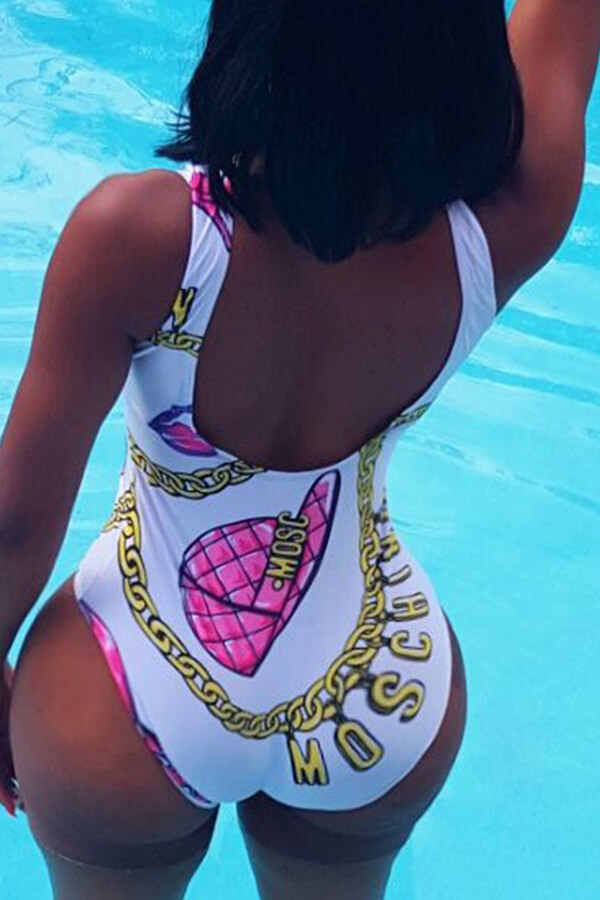Lovely Casual Print White One-piece Swimsuit