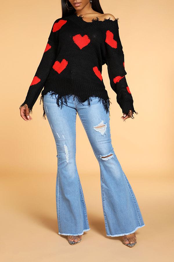 Lovely Casual Tassel Design Black Sweater