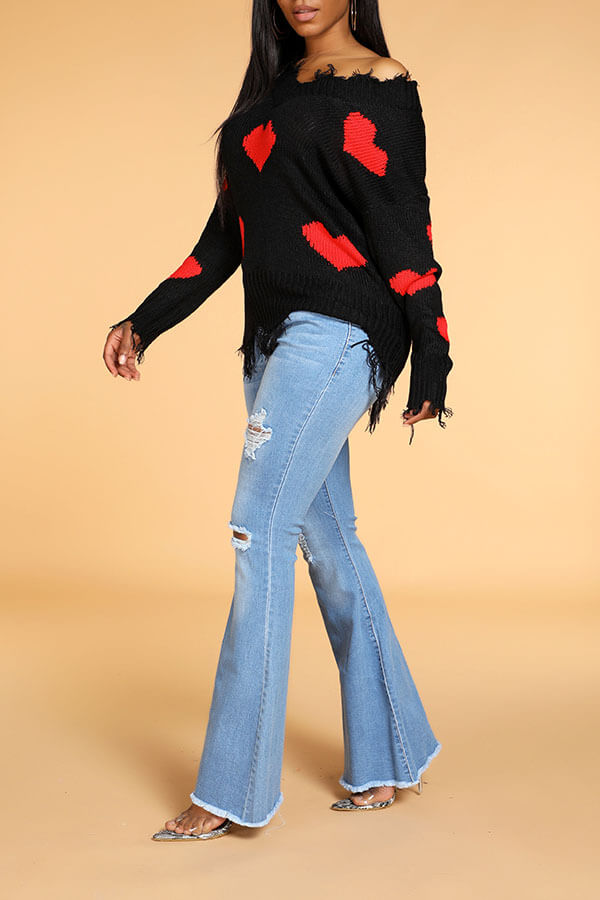 Lovely Casual Tassel Design Black Sweater